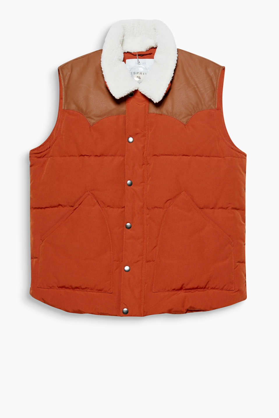 A cool look: this gilet with an RDS-certified down/feather filling features a faux leather trim