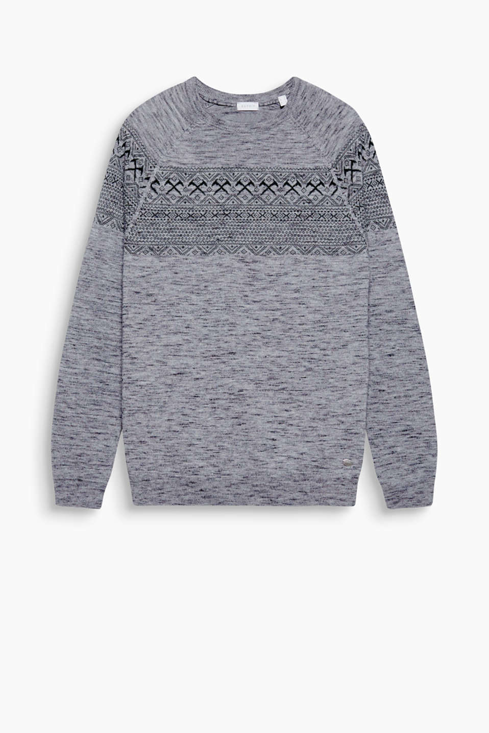 A fine jacquard knit and high-quality wool blend make this jumper a casual, head-turning piece.