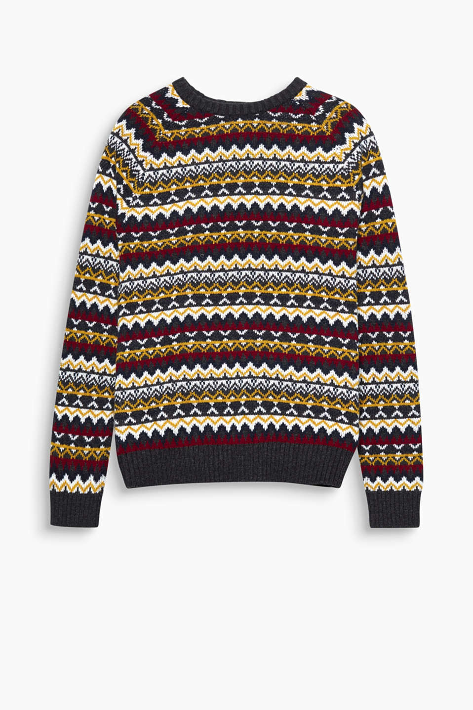 A striking pattern makes this blended cotton jumper a stylish head-turner!