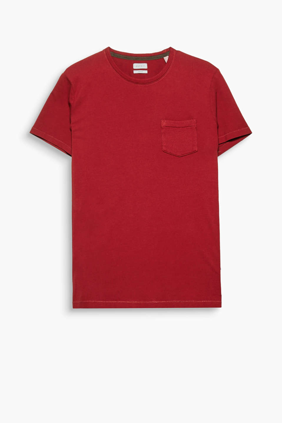 A basic with a twist: this round neck T-shirt with a knit breast pocket.