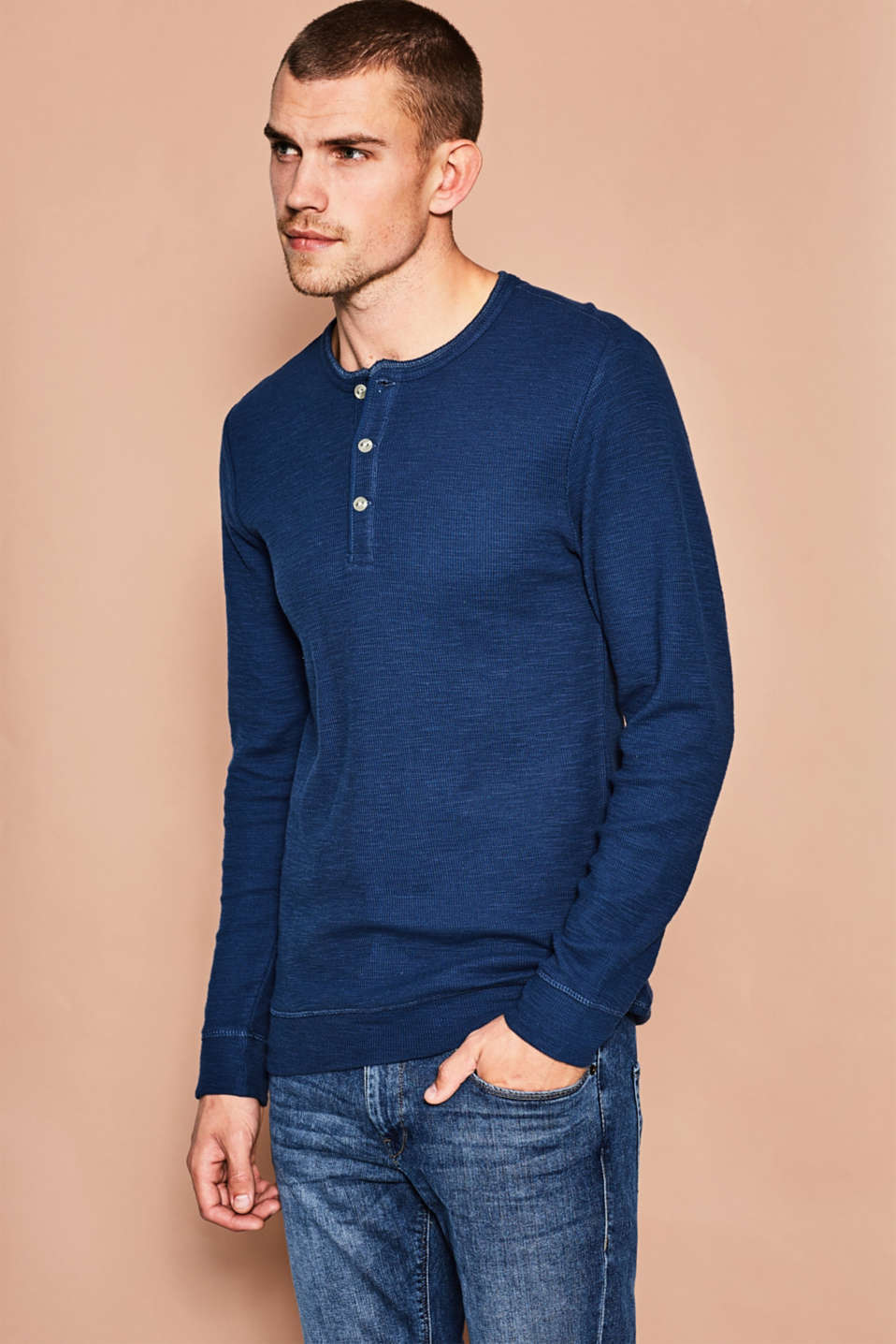 Esprit - Ribbed slub jersey Henley, cotton