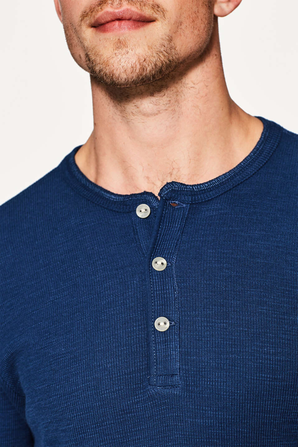 Ribbed slub jersey Henley, cotton