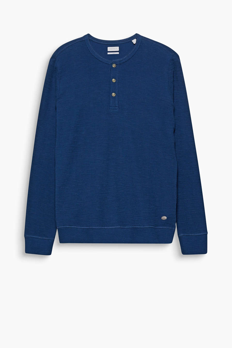 This essential piece is a must for every wardrobe: long sleeve top with a Henley neckline, made of slub jersey in cotton