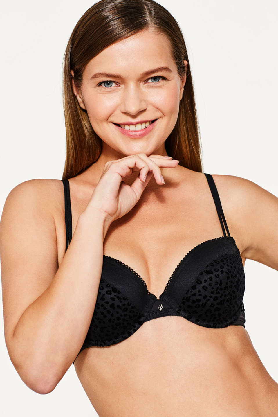Esprit - Padded underwire bra with a flock print