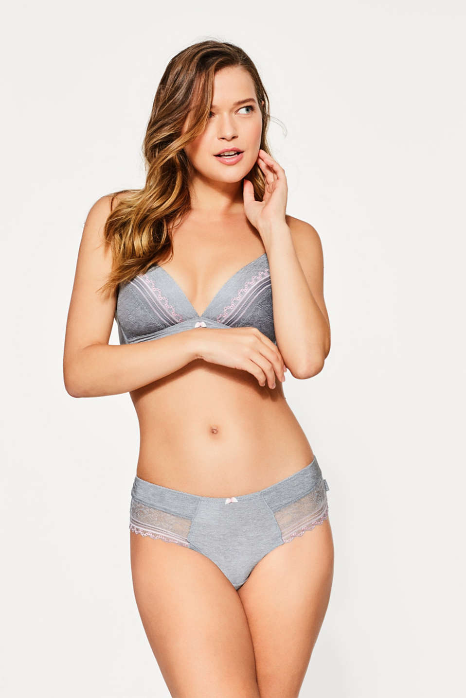 Esprit - Melange bra with two-tone lace