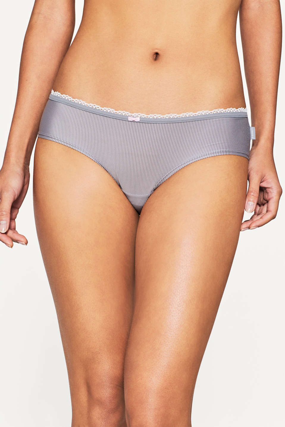Esprit - Silky hipster briefs with stripes and lace