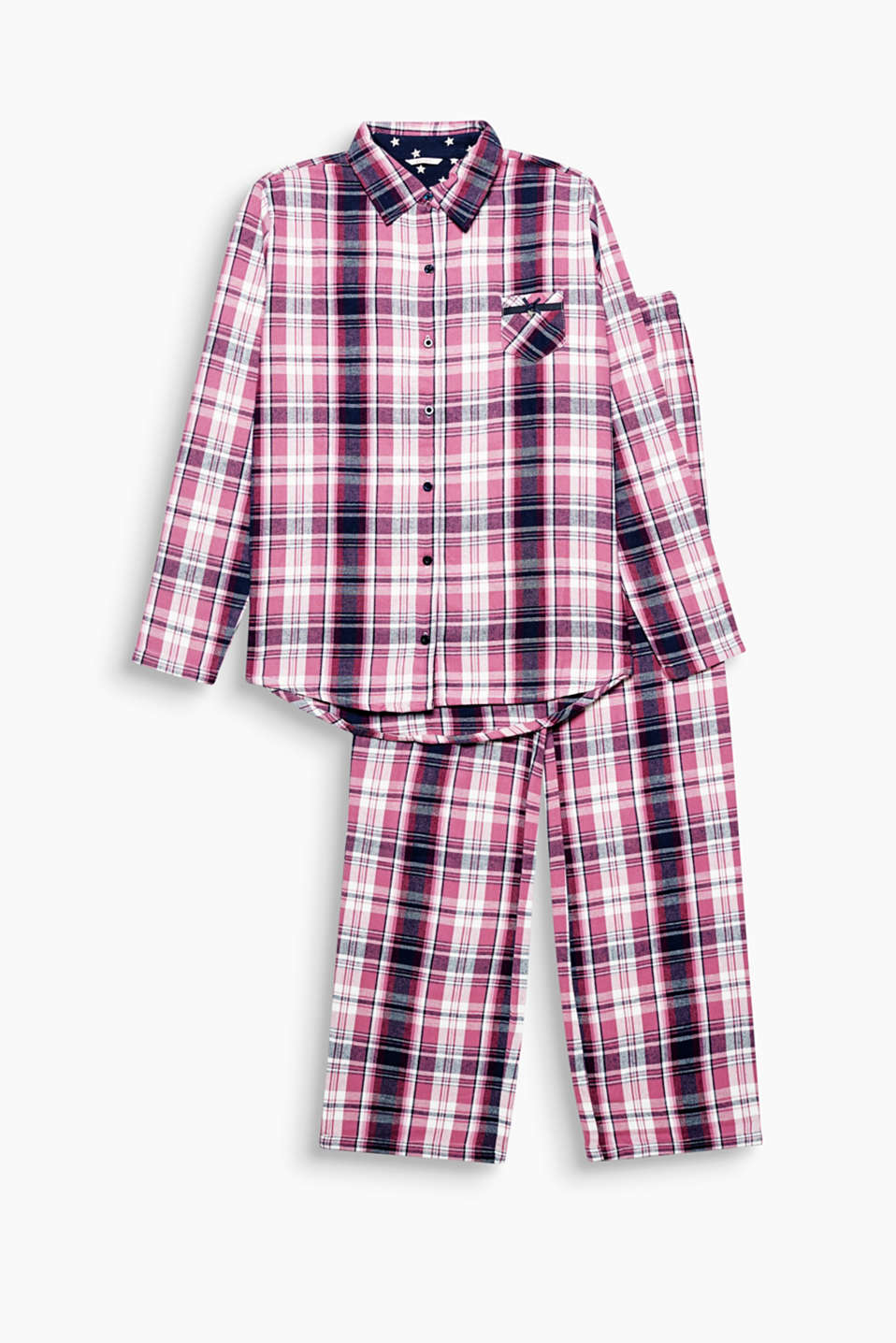 Checks and comfort: these soft flannel pyjamas made of pure cotton in a casual boyfriend style offer you both!