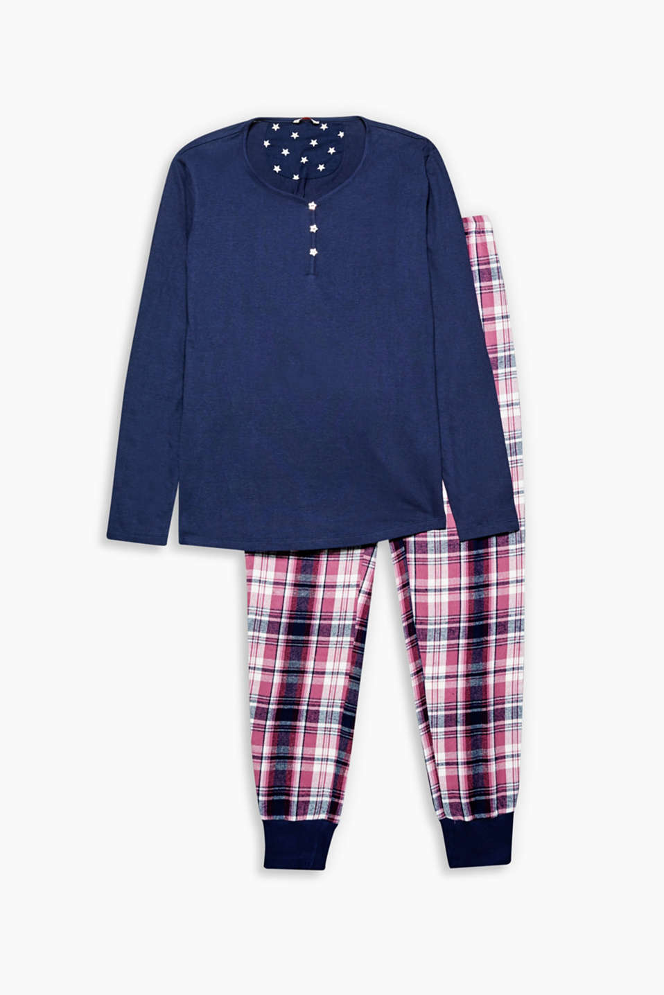 Pyjama set made of jersey and checked flannel decorated with star-shaped mother-of-pearl buttons.