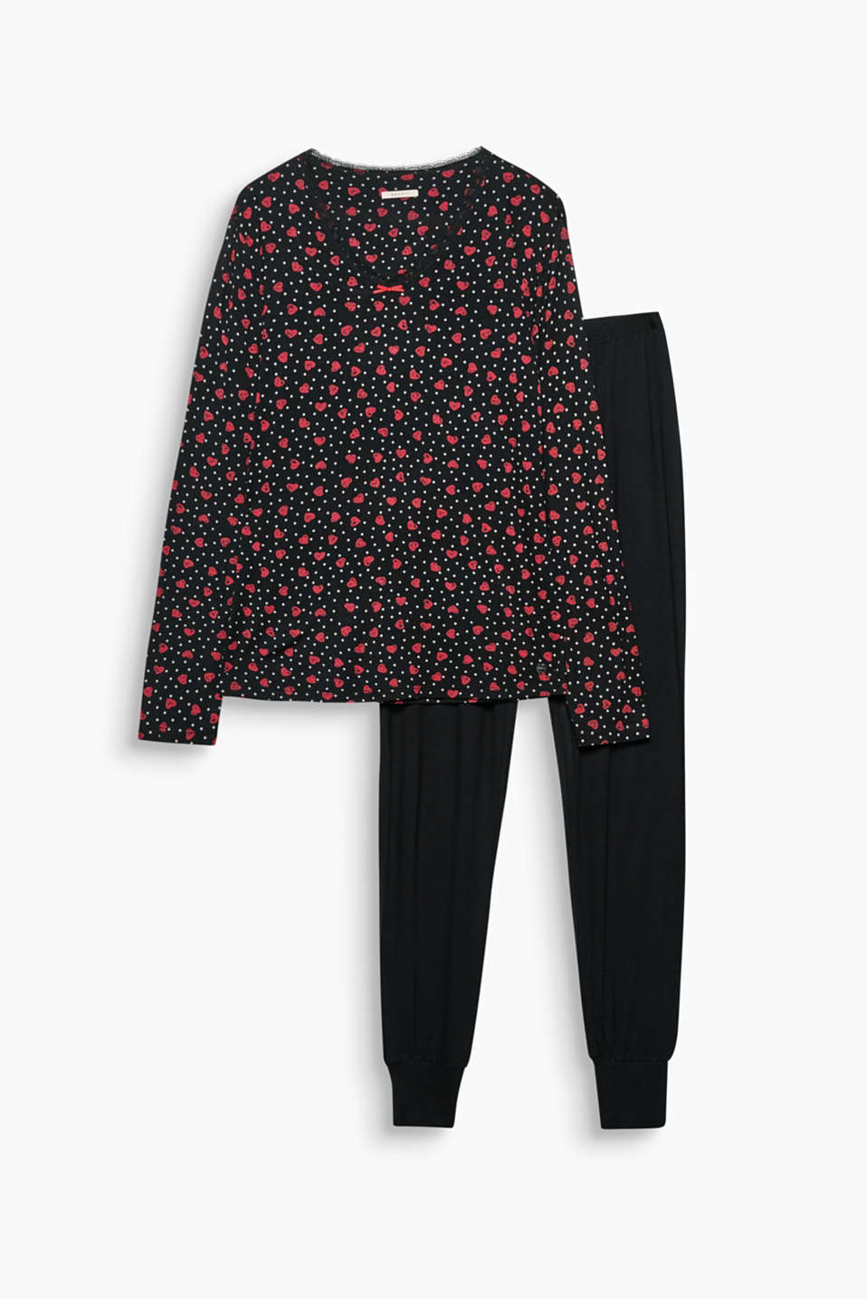 Close to the heart: you will love these super soft jersey pyjamas with a printed top and plain coloured bottoms!