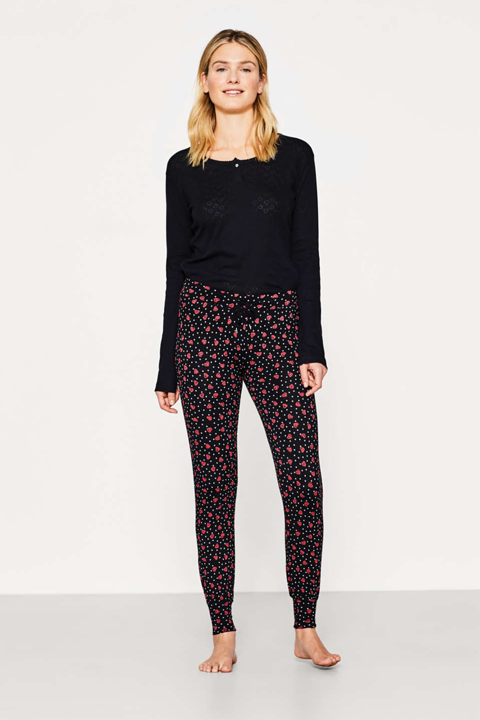 Esprit - Stretch jersey bottoms with a heart print