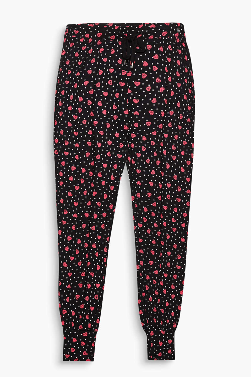 These tracksuit-style bottoms in stretch jersey + a decorative heart and polka dot print are especially soft and lightweight!
