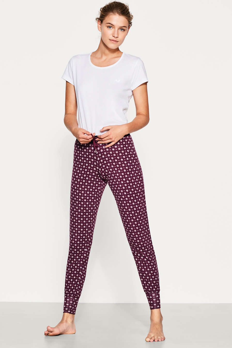 Esprit - Pantalon stretch fluide à imprimé all-over