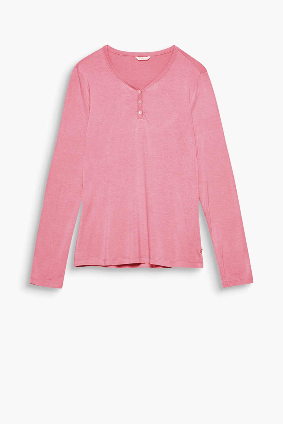 Great for mixing and matching and feels fantastic against the skin: plain long sleeve top with a button placket!