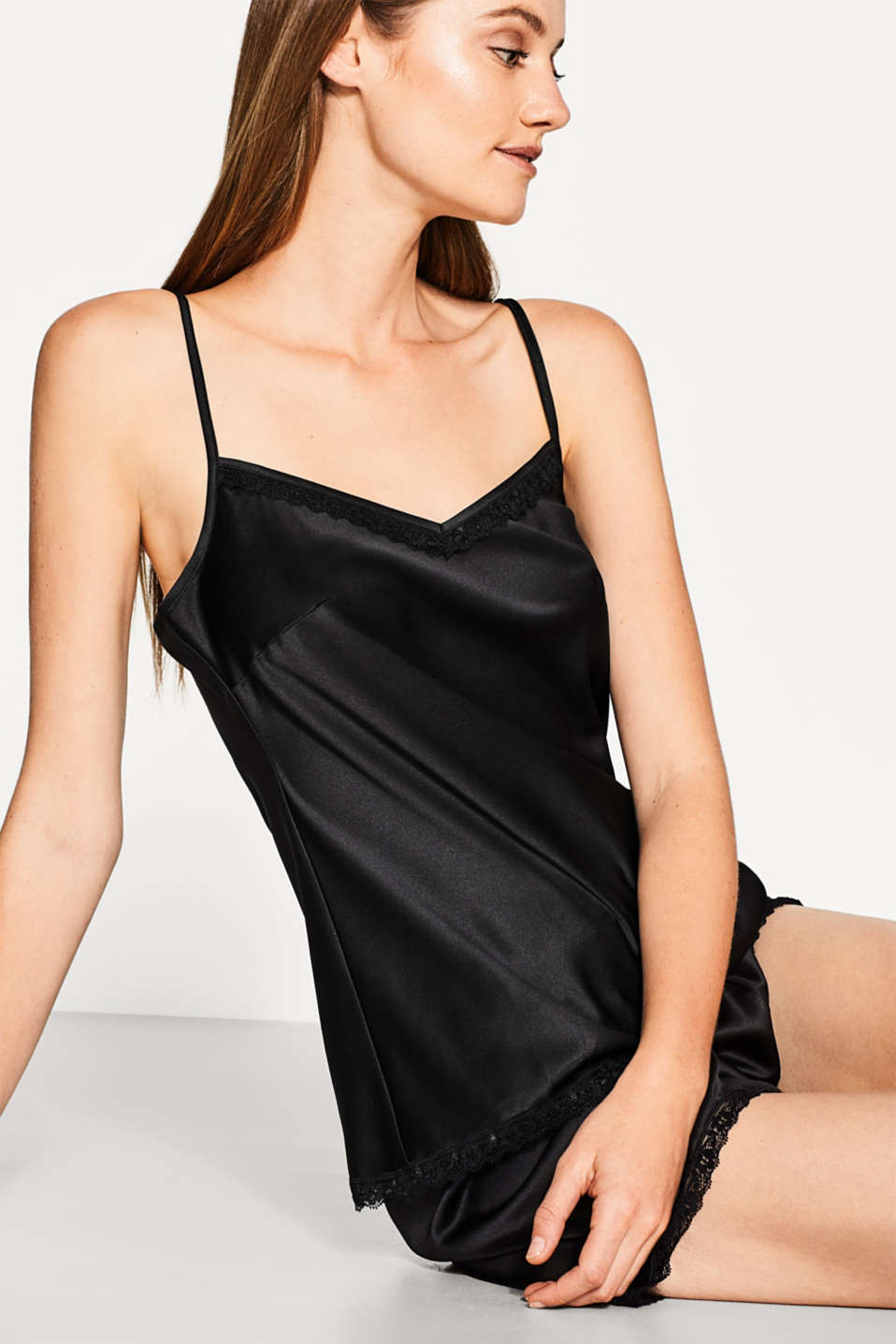 Silky spaghetti strap top with lace
