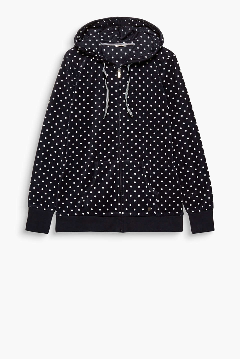 Twice as nice: Fleece and polka dots give this hooded wellness cardigan its worn comfy character!