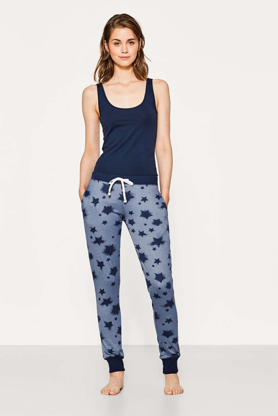 Esprit - Printed sweat pants + towelling lining