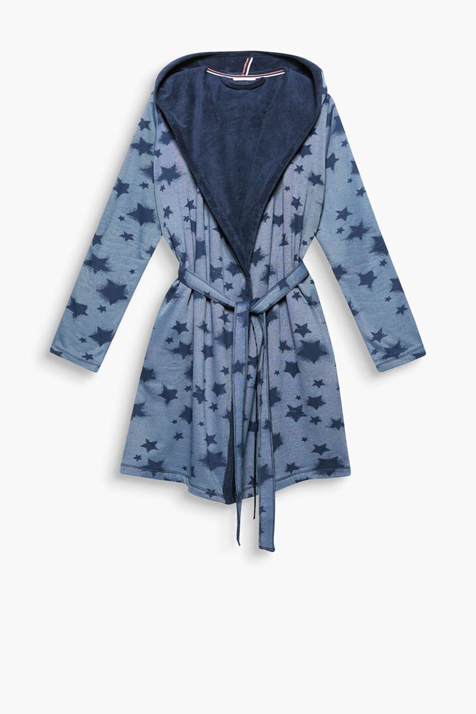 This sweatshirt kimono with a star print and towelling lining promises heavenly comfort!