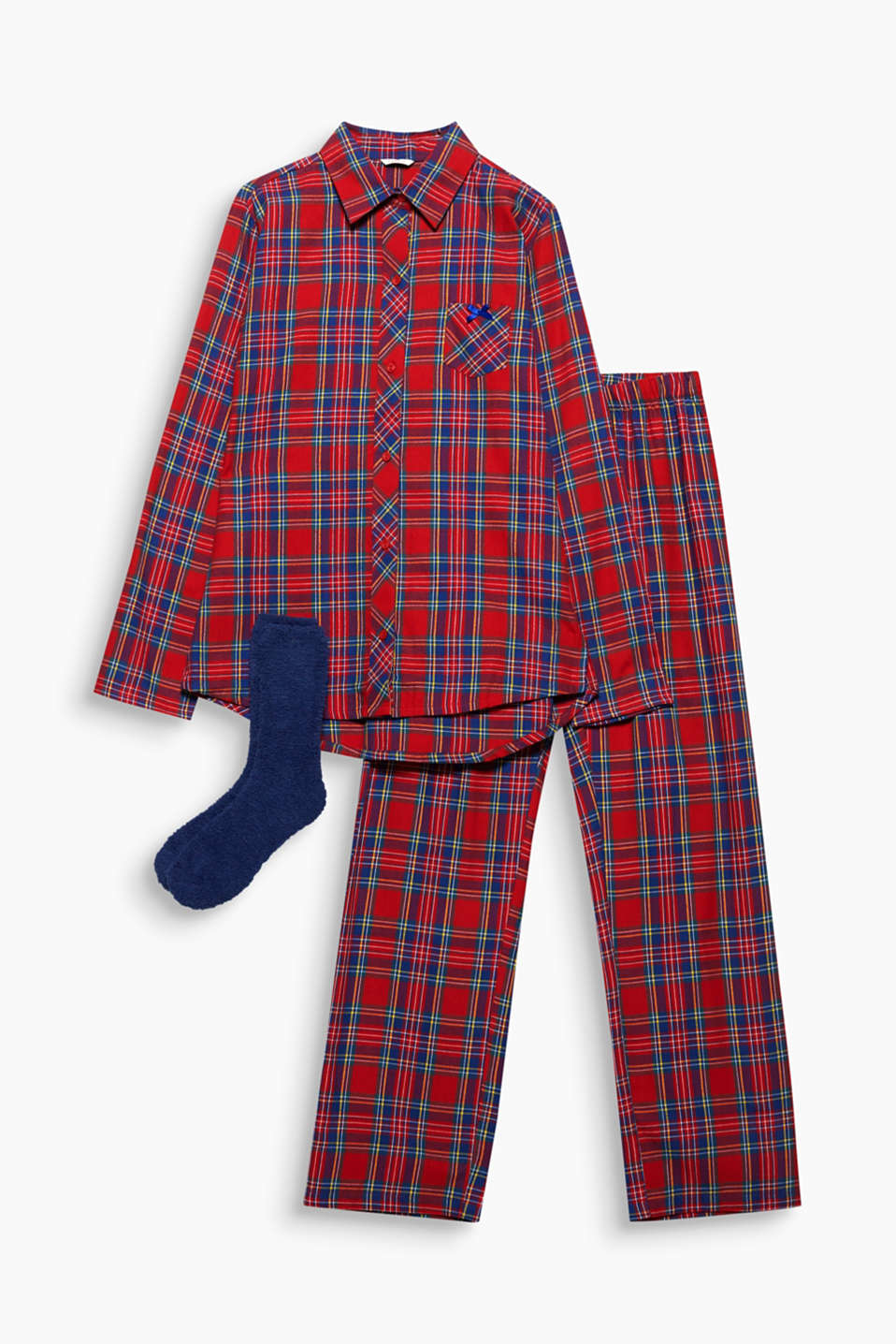The perfect gift: these flannel pyjamas with a trendy check make a great set with the cosy socks!