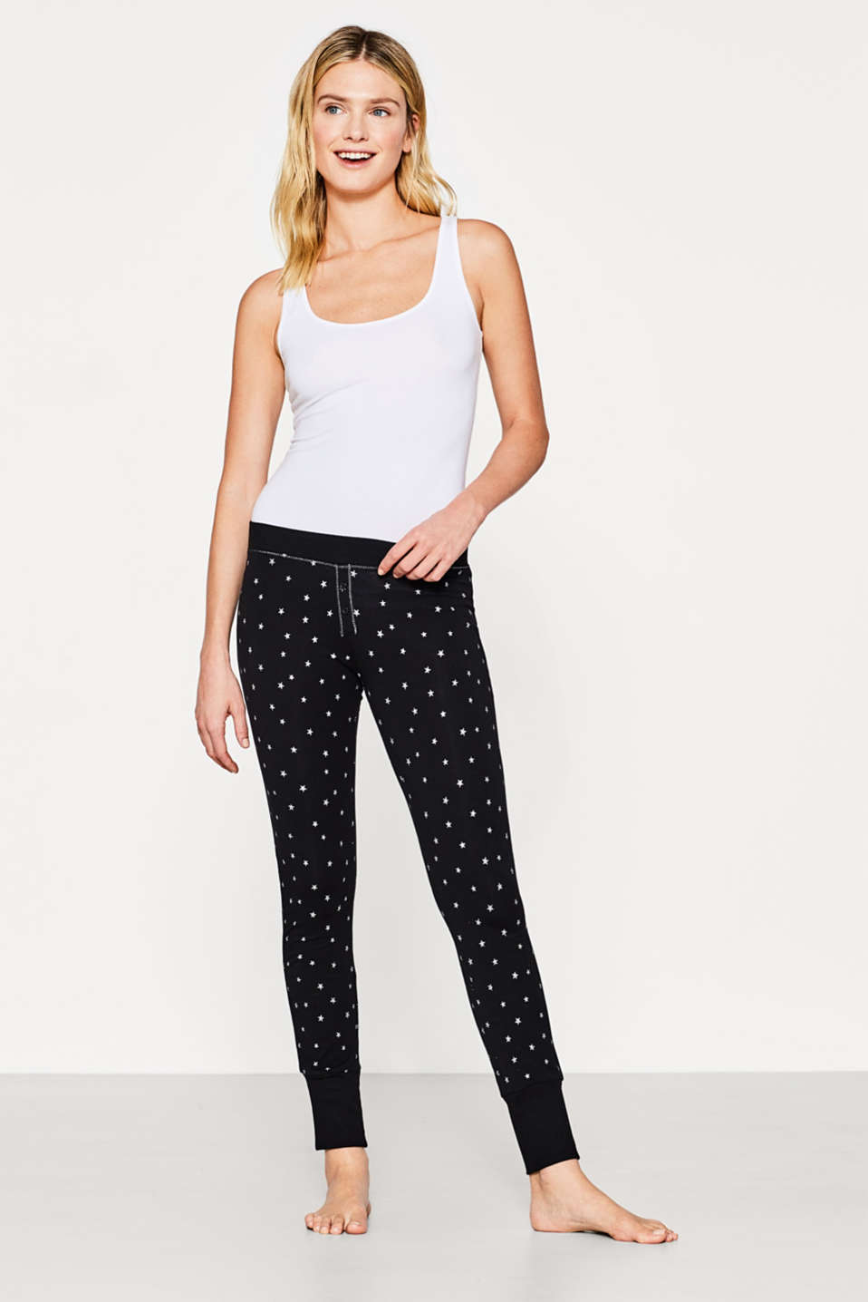 Esprit - Cotton stretch trousers with a star print