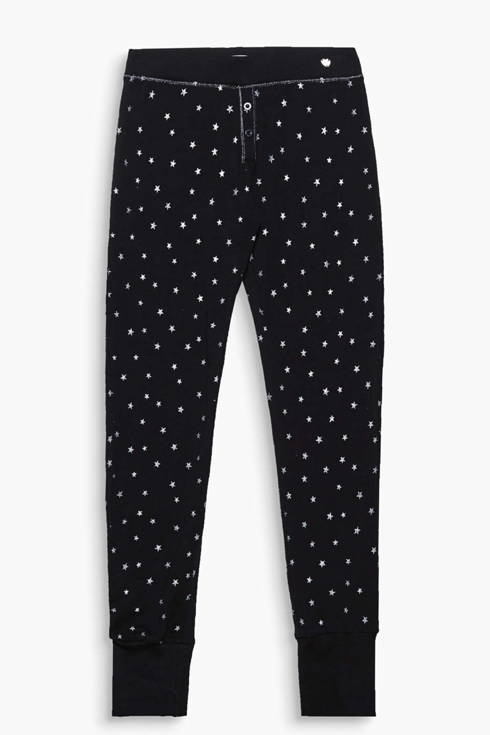 These stretch jersey trousers with a glittering star print and ribbed cuffs are extremely comfortable!