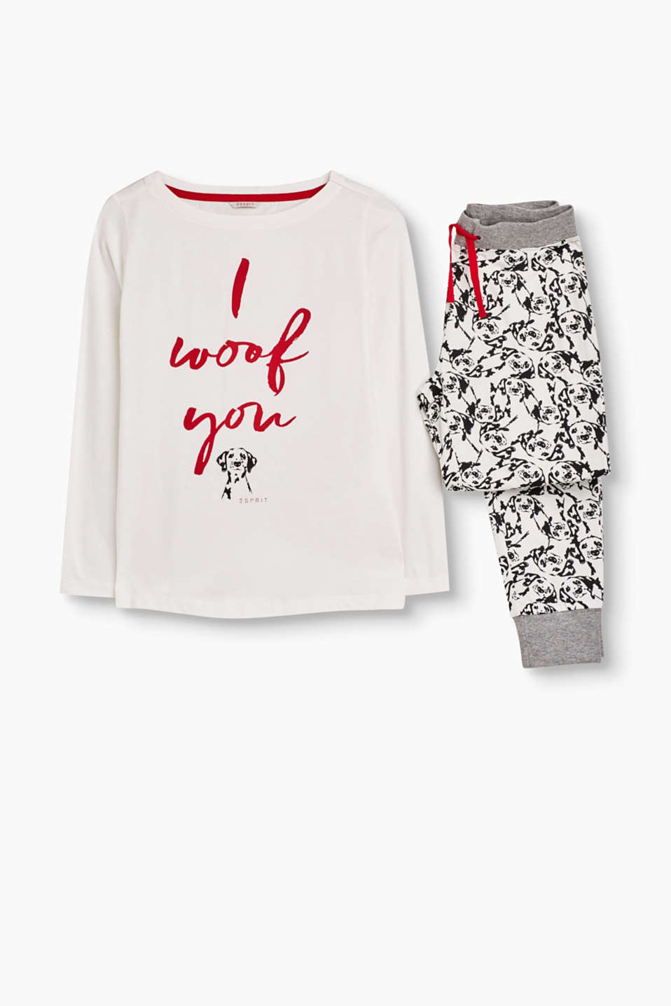 These pyjamas with a slogan print and dog design are wonderfully soft and have a particularly pretty look.