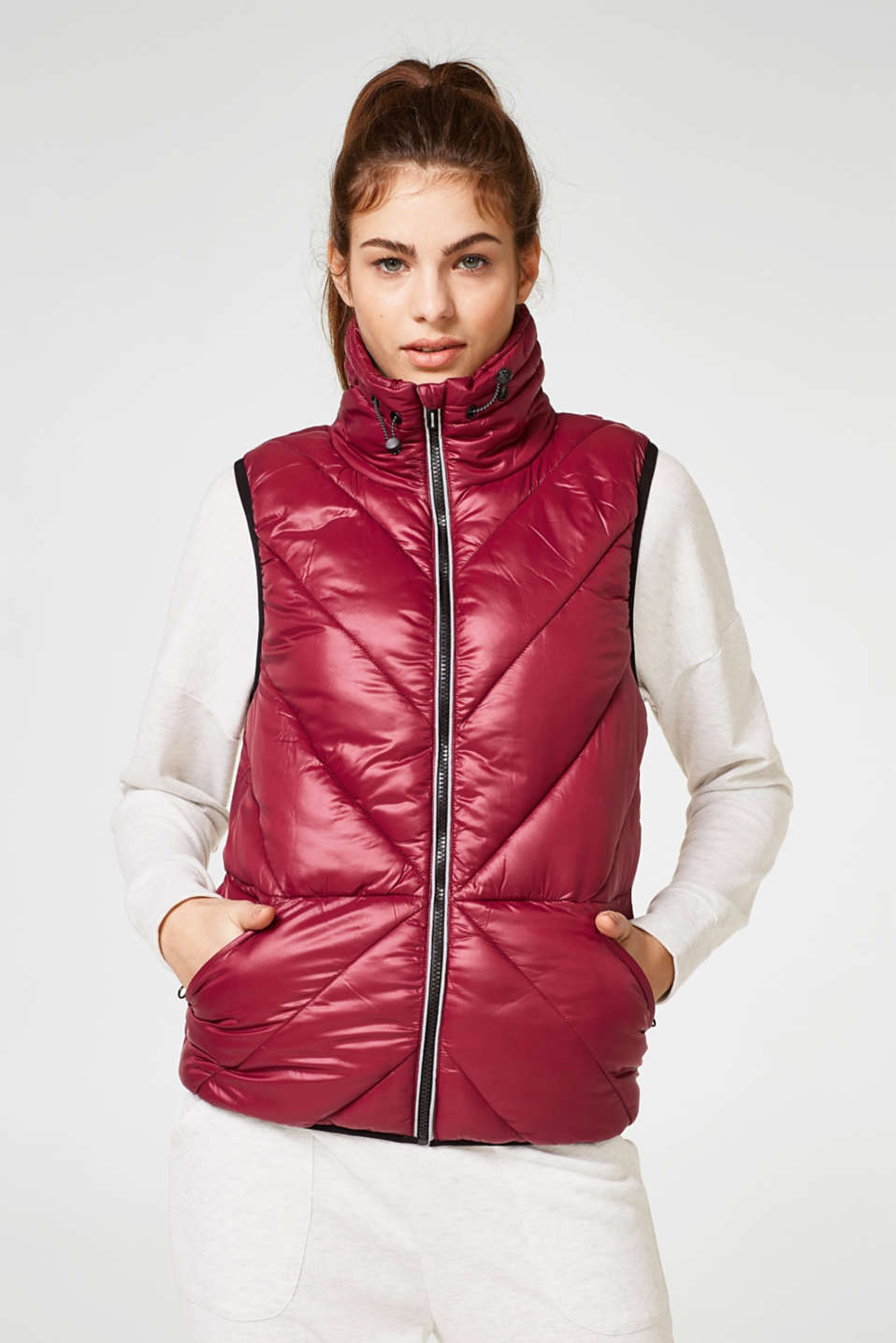Esprit - Padded quilted gilet with cotton lining