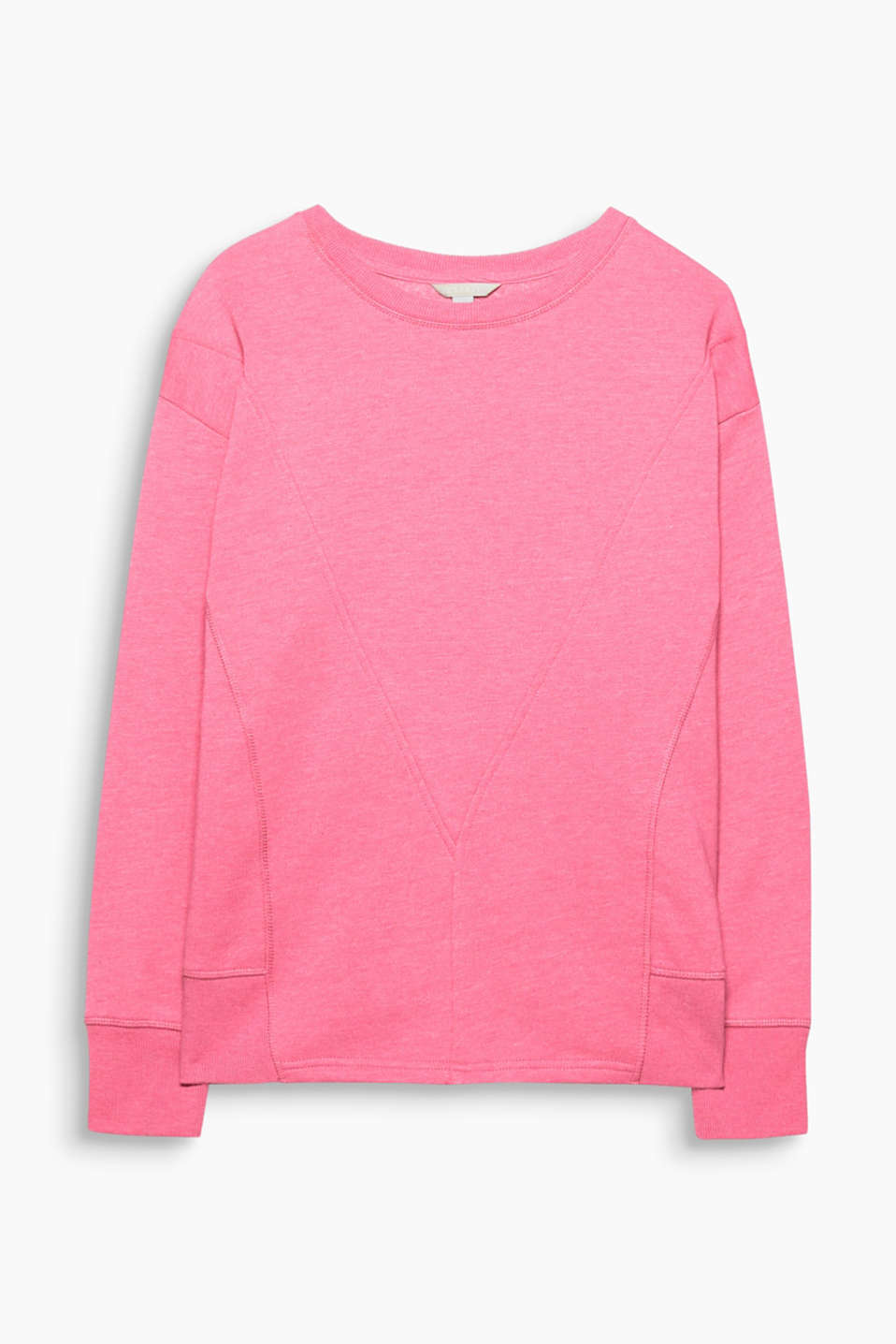 This napped sweatshirt with decorative stitching and ribbed trims on the edges is perfect for warming up or relaxing!