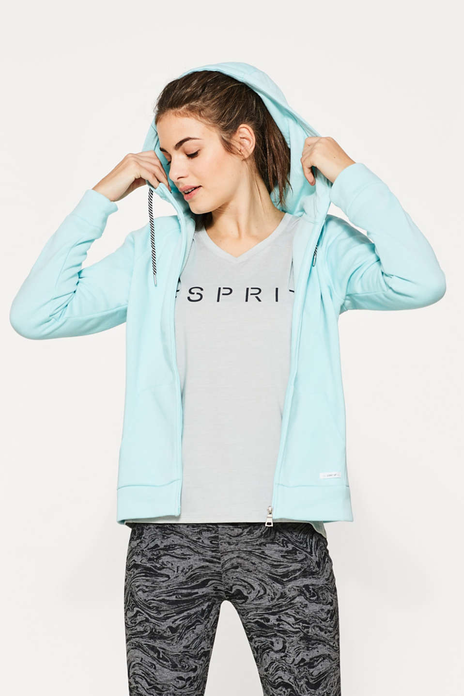 Esprit - Cotton blend cardigan with a hood
