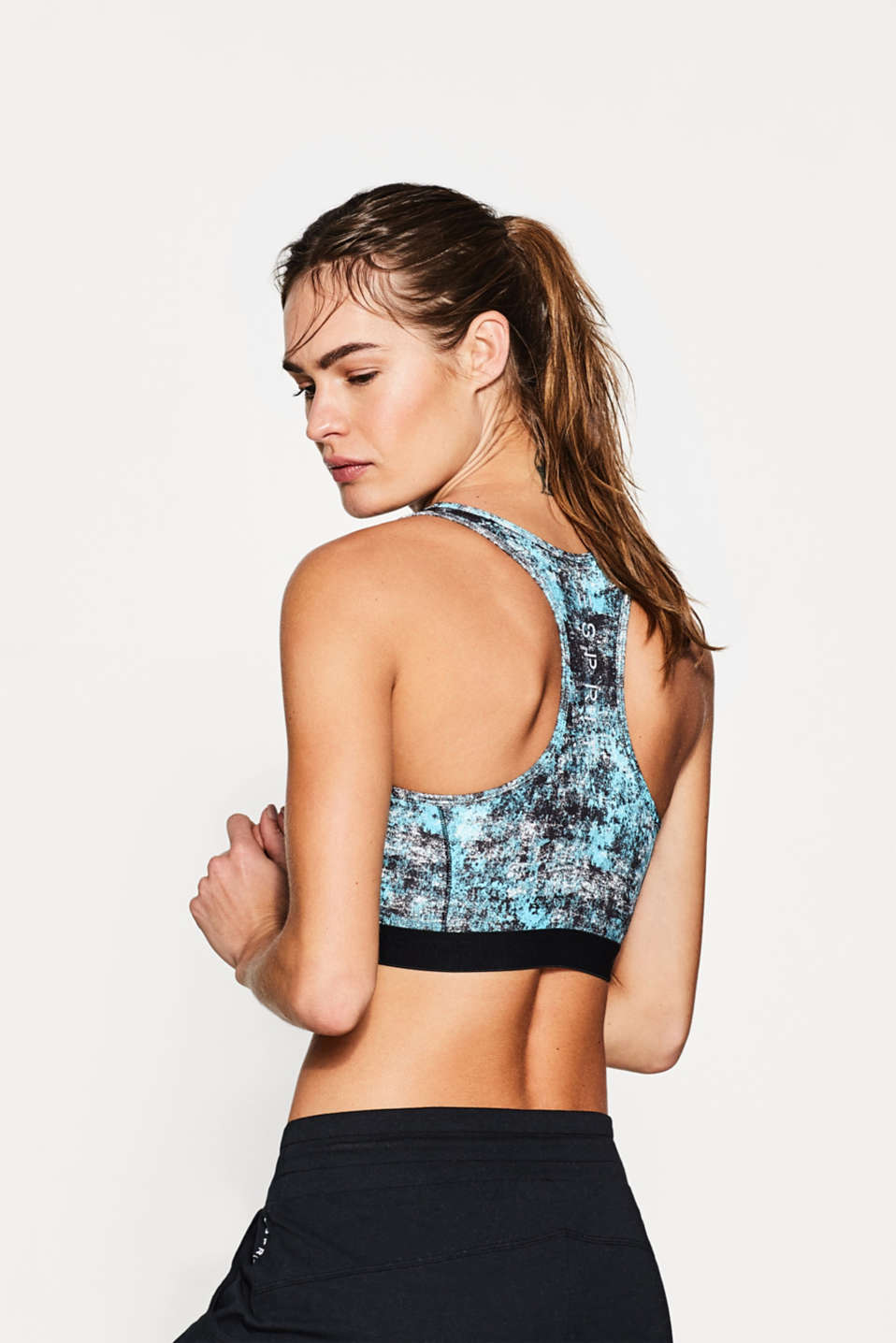 Light support bra with graphic print, E-DRY
