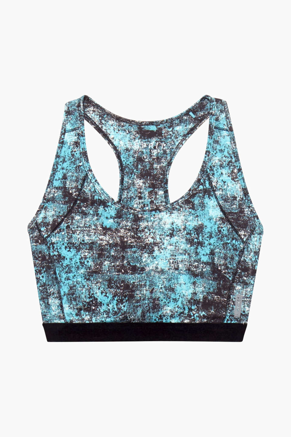 This light support bra with a graphic all-over print and a racer back is your perfect active top!