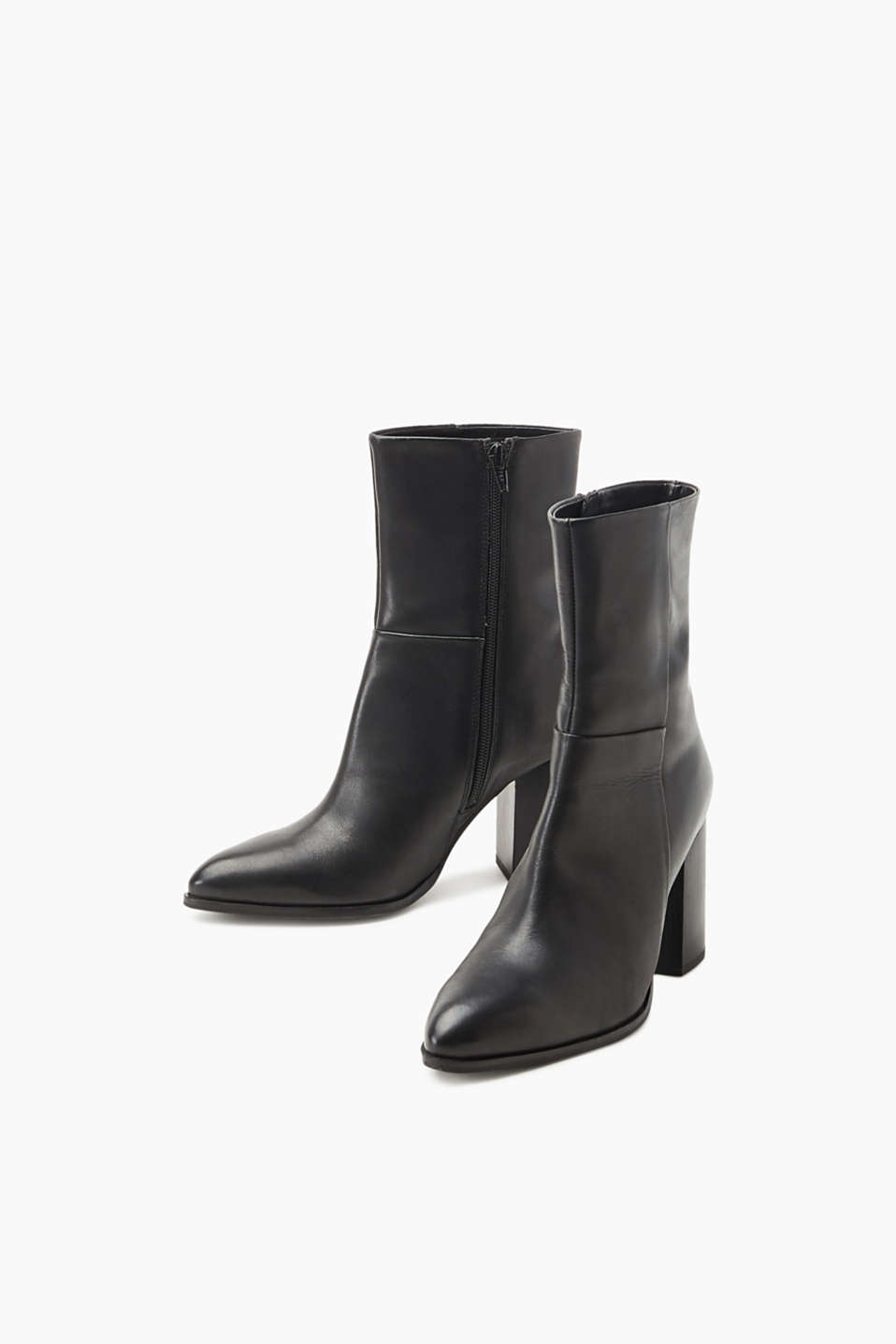 Leather ankle boots with a block heel