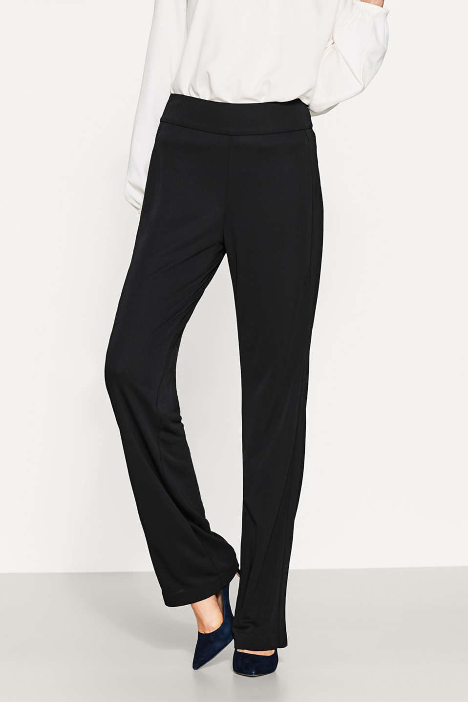 Esprit - Easy-care trousers in sophisticated jersey