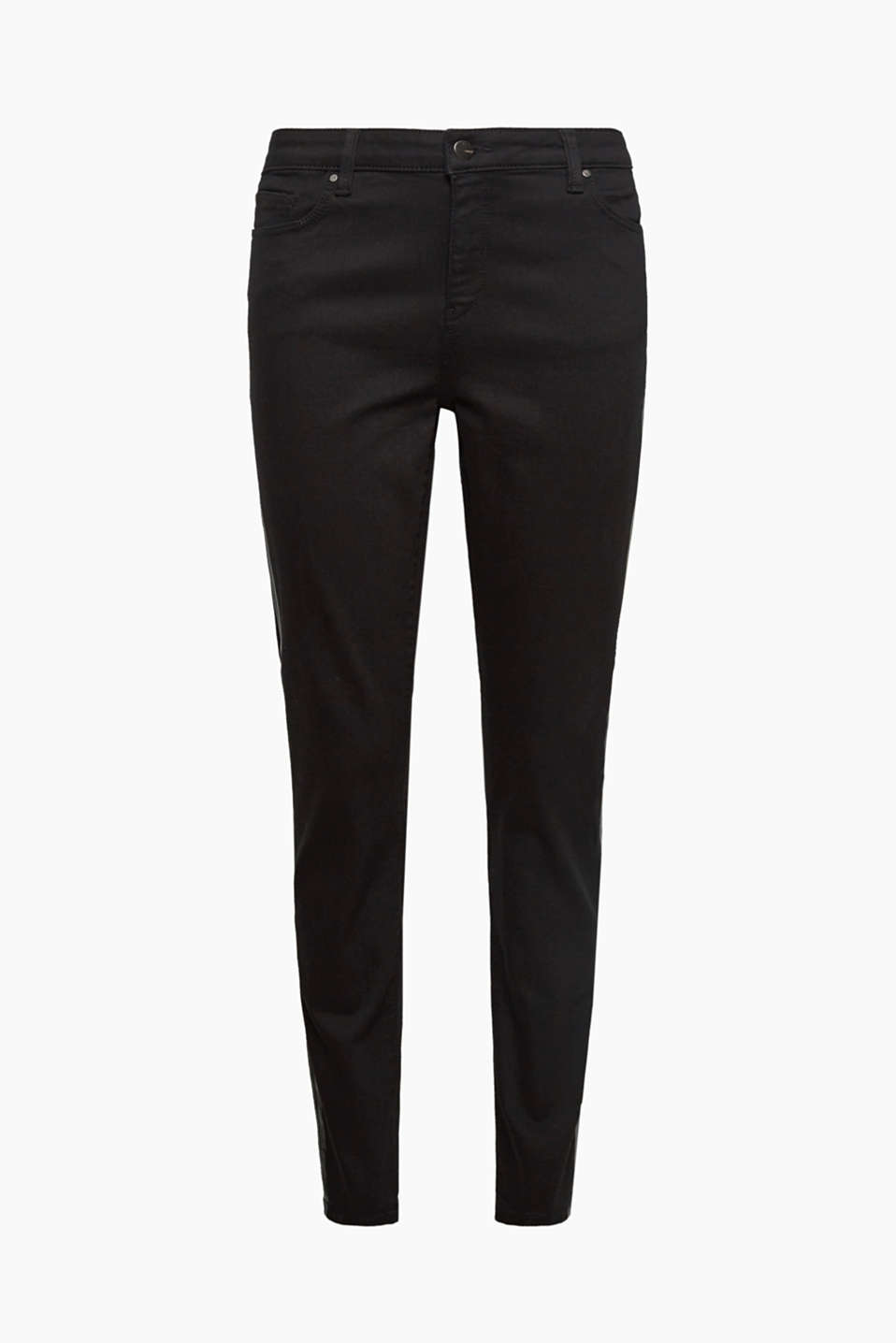 The shiny tuxedo stripes on the outside of the leg accentuate the sexy, skin-tight silhouette of these black jeans!