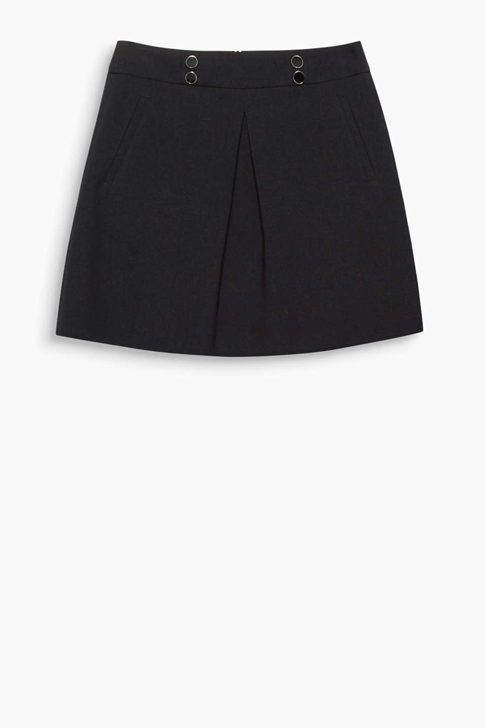Very retro: This flared mini skirt boasts an inverted pleat at the centre front and decorative buttons at the waistband.