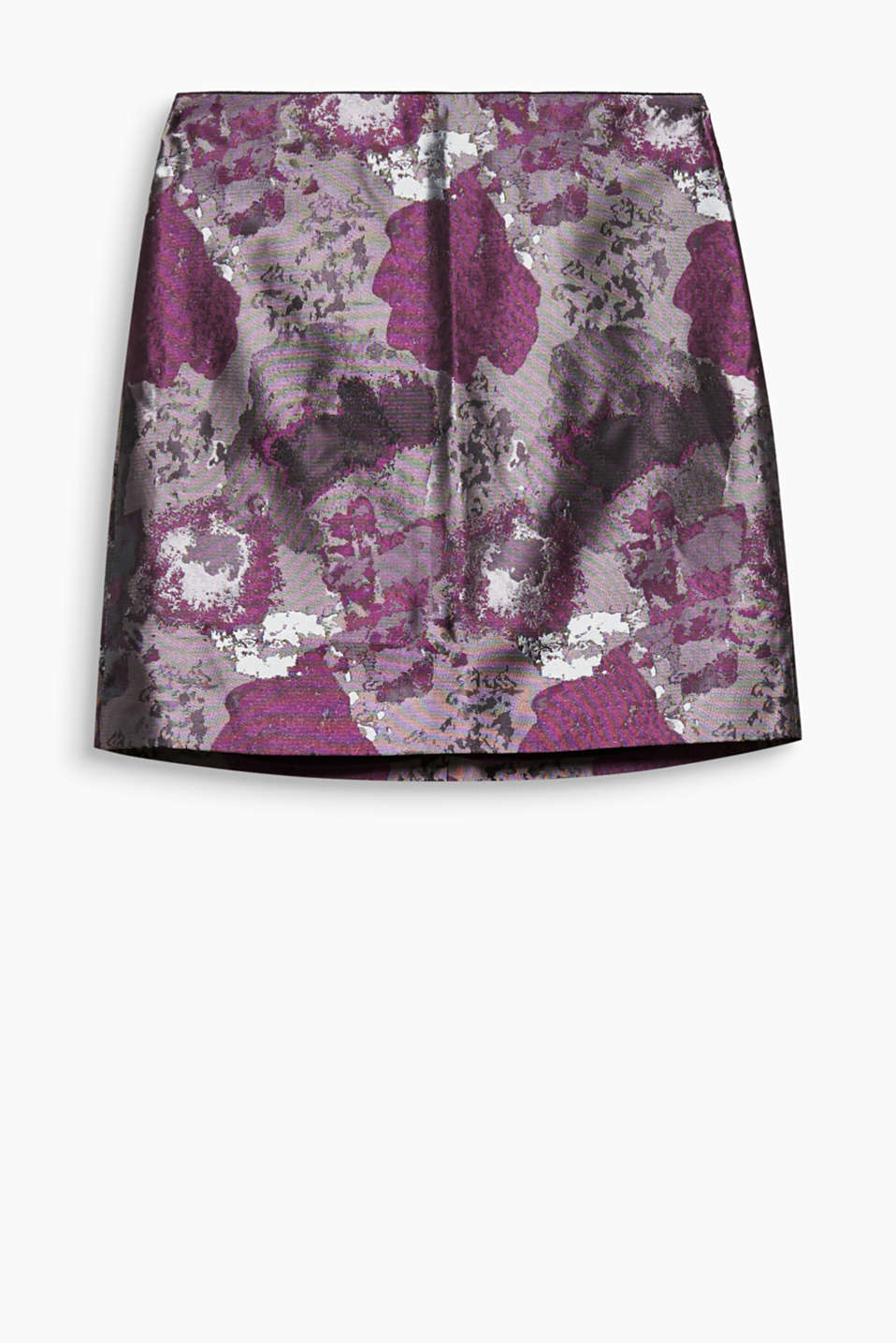The iridescent sheen and abstract floral pattern make this elegant mini skirt completely irresistible!