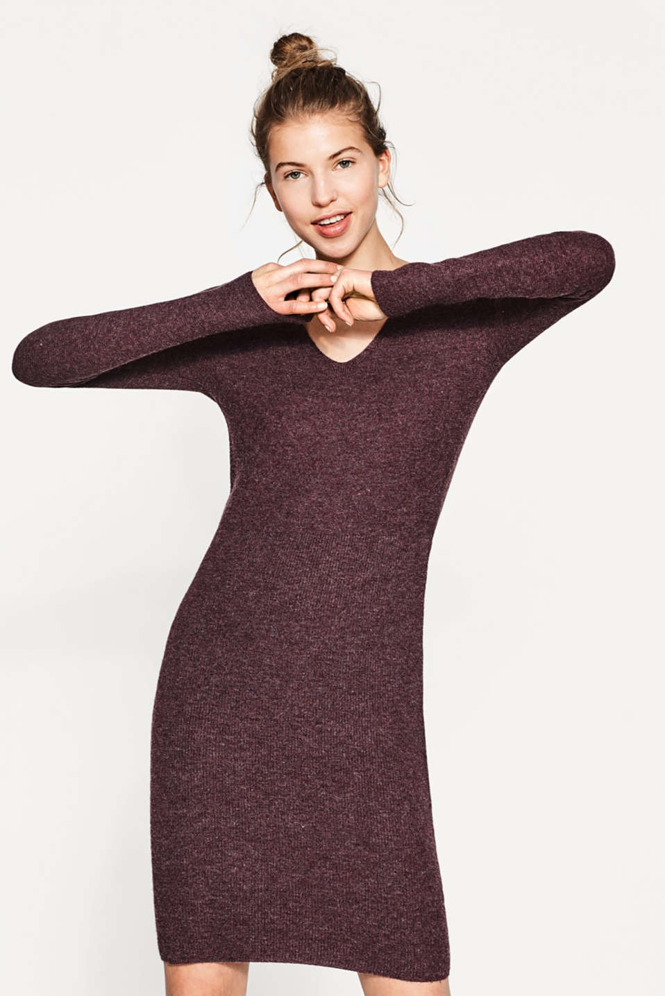 Esprit - Softes V-Neck-Strickkleid mit Struktur-Mix