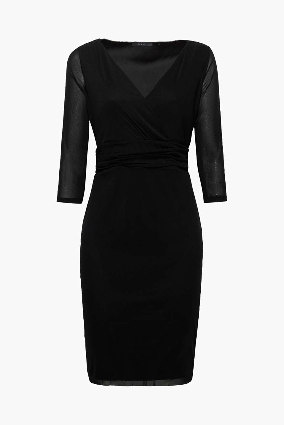 This mesh dress with a fixed wrap-over effect is lightweight, delicate and essential for special occasions!