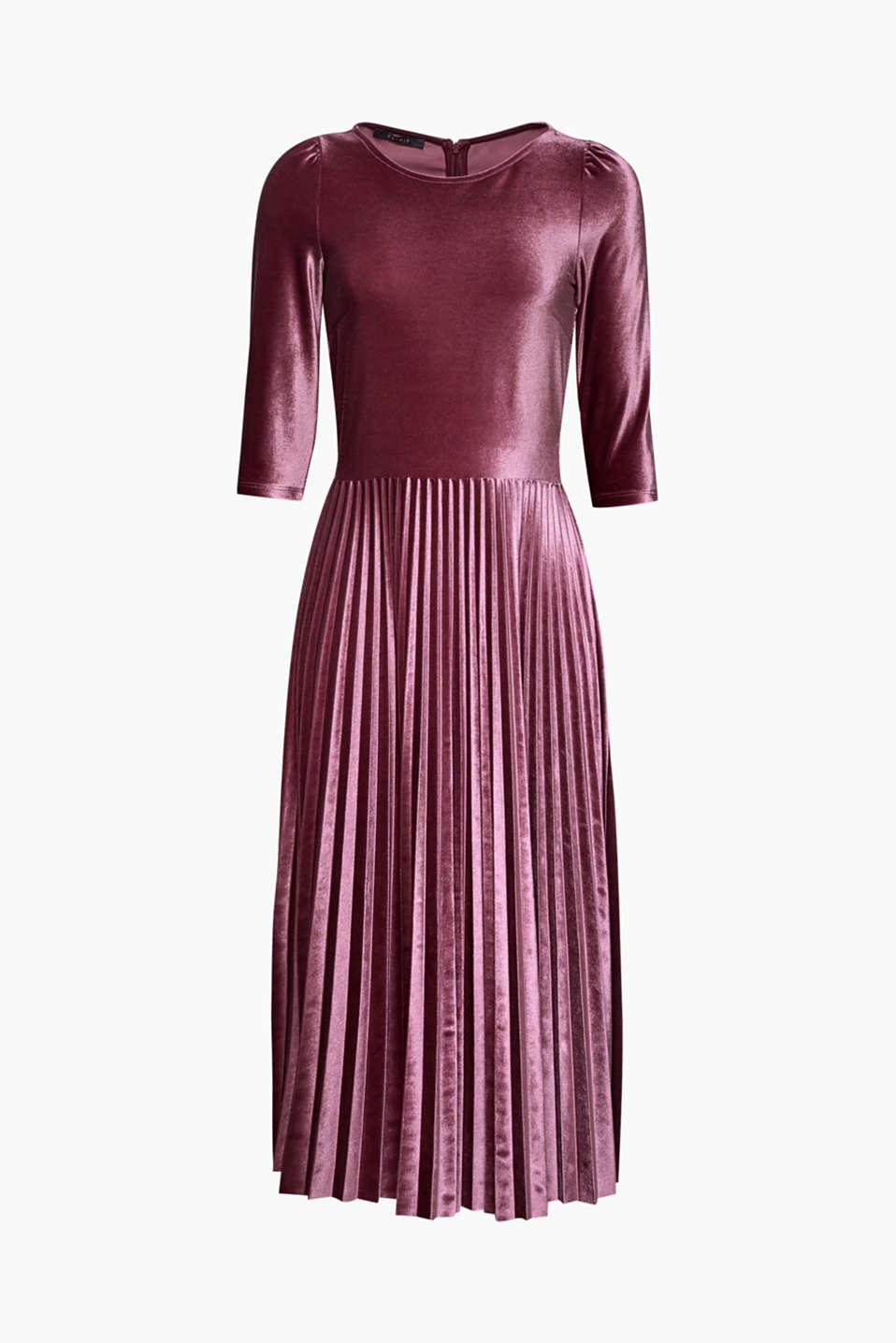 Super stylish, super comfortable: dance the night away in this stretch velvet dress with a midi pleated skirt!