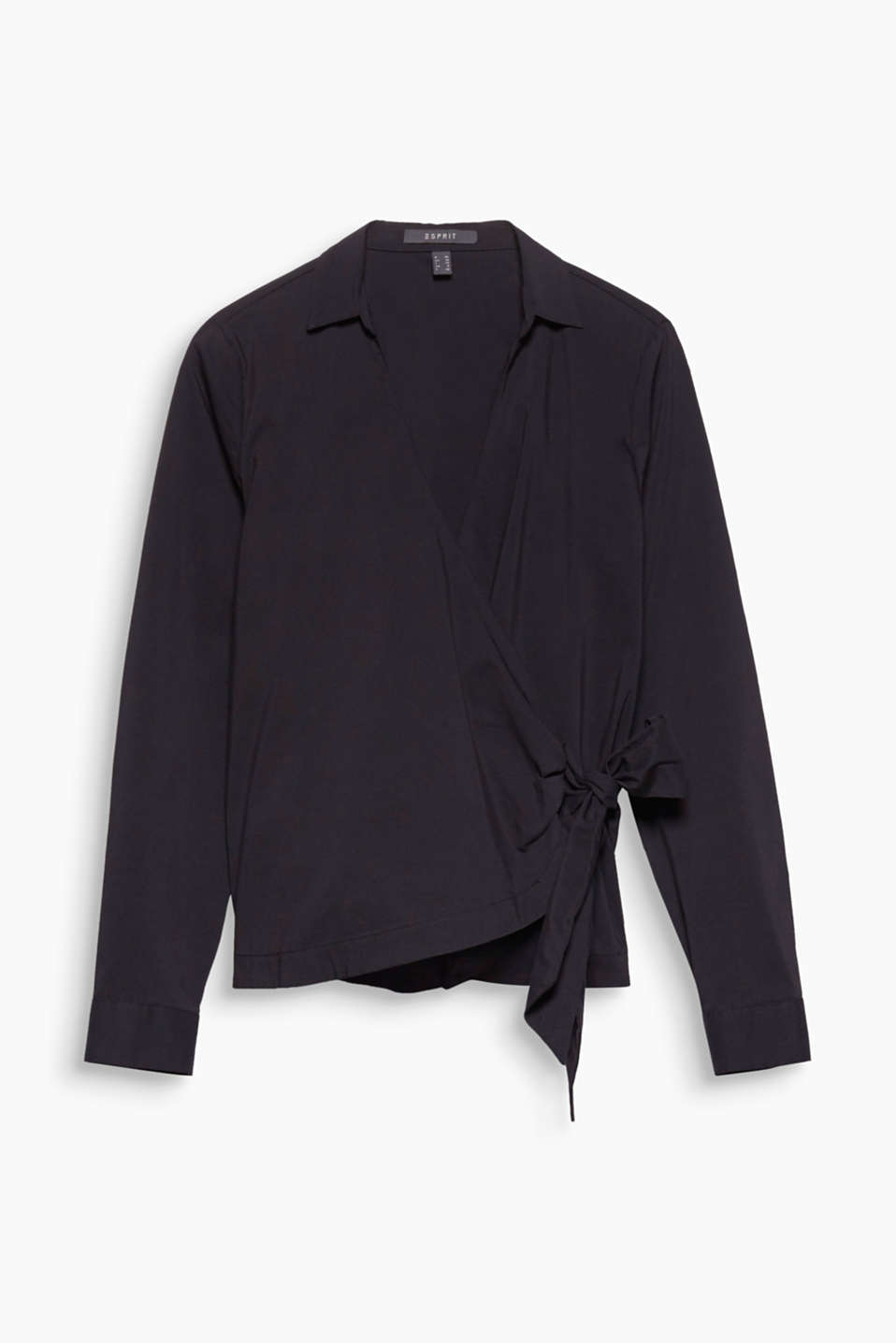This cotton blend blouse with a collar and sophisticated wrap-over look exudes timelessly simple elegance.