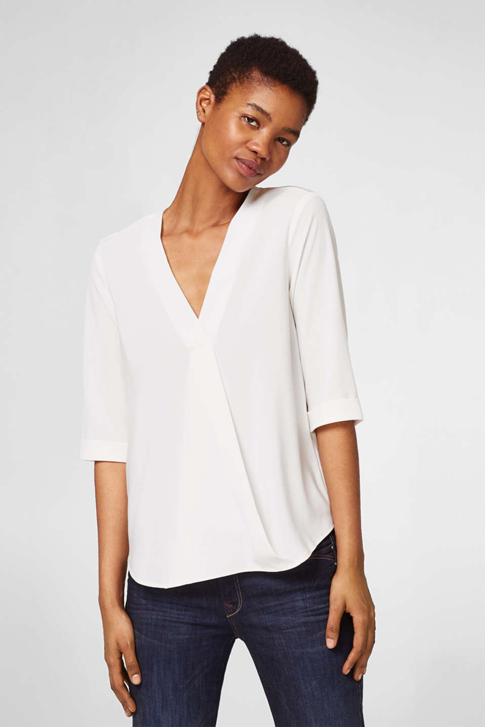 Esprit - Flowing blouse in a modern wrap-over look