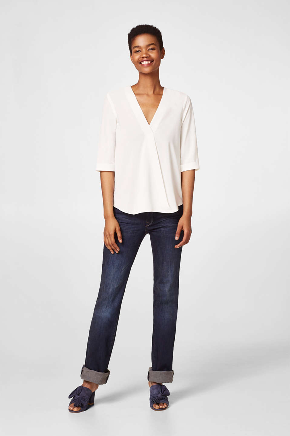 Flowing blouse in a modern wrap-over look