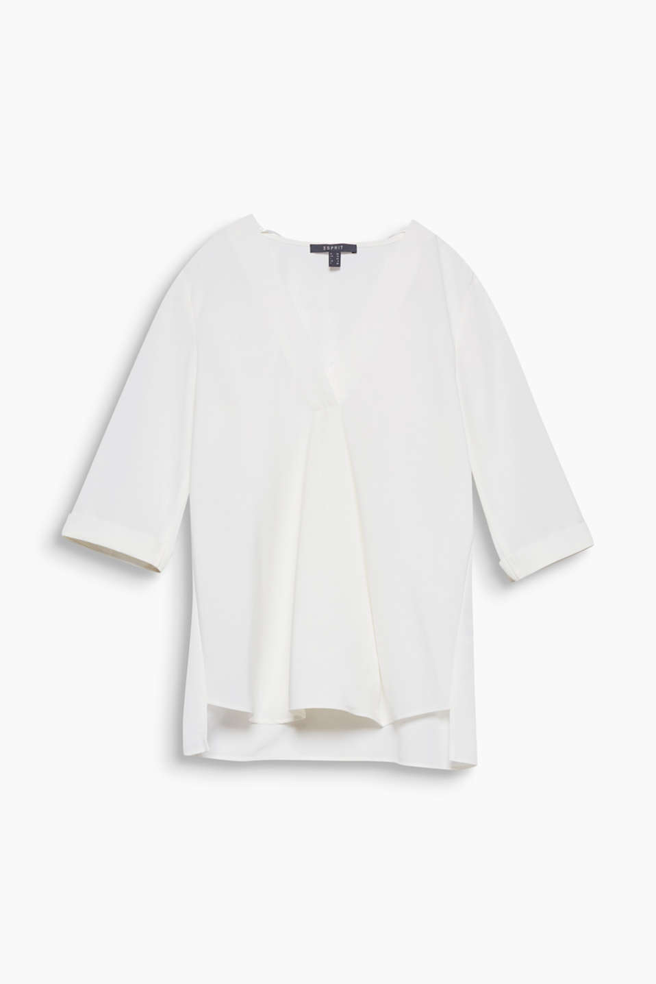 Casual and chic: this laid-back, wide cut blouse boasts an attached wrap-over effect and three-quarter length sleeves.