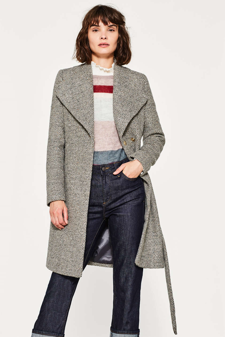 Esprit - Colourful tweed coat with glittering lurex