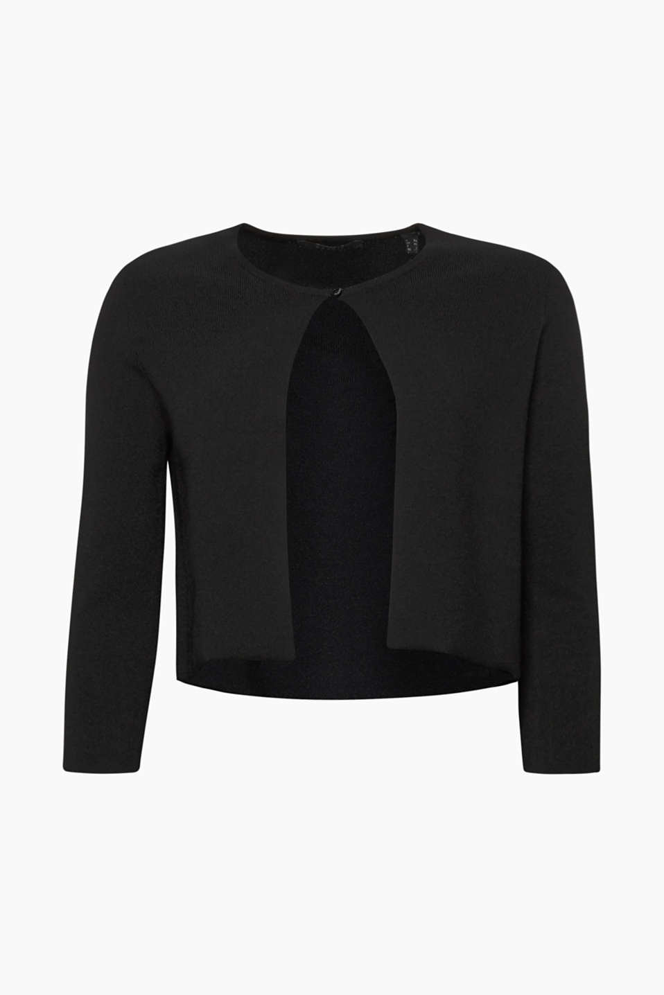 This fine knit bolero in compact crêpe yarn with three-quarter length sleeves will complete your little black dress!