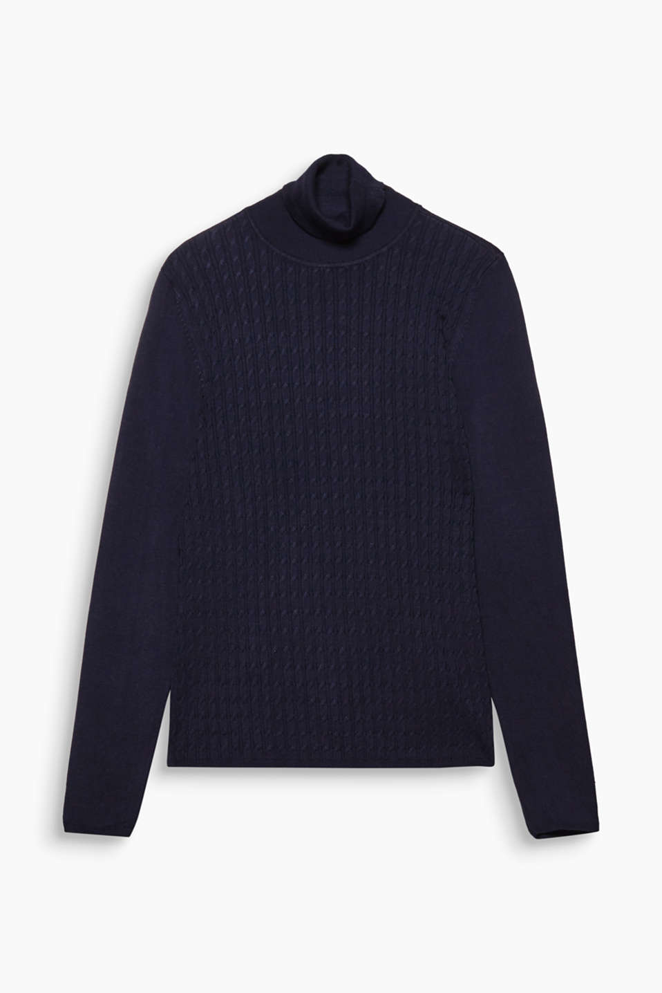 Fine cables on the front give this classic fine knit polo neck with stretch for comfort its youthful look!