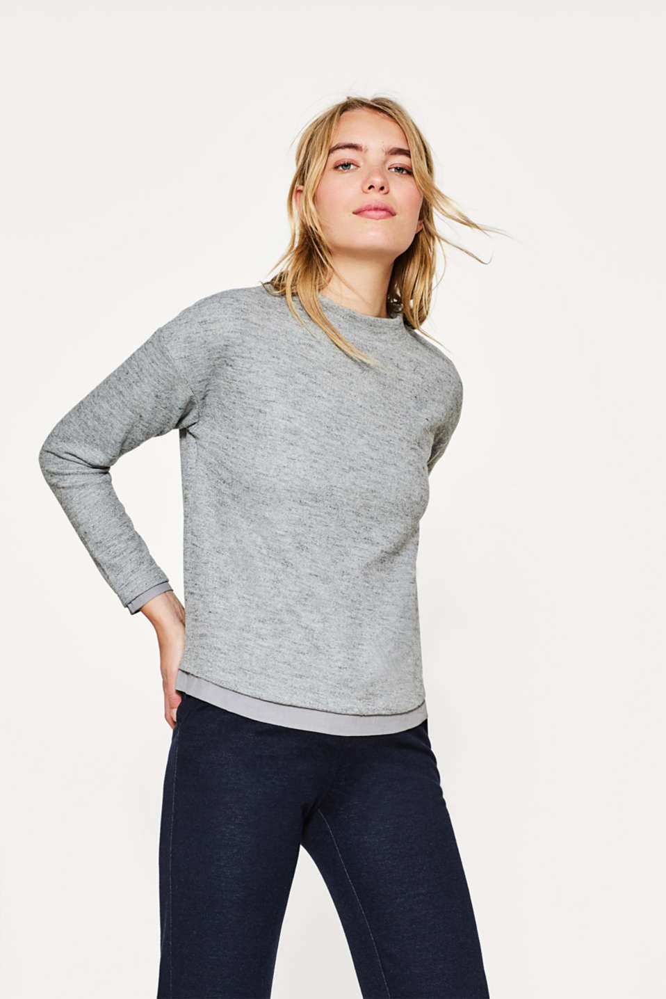 Esprit - Soft layer long sleeve top with a cloth hem