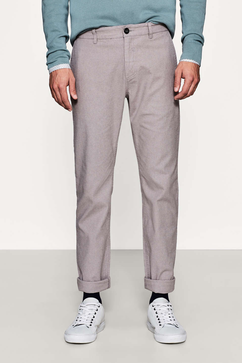 Esprit - Textured stretch cotton chinos