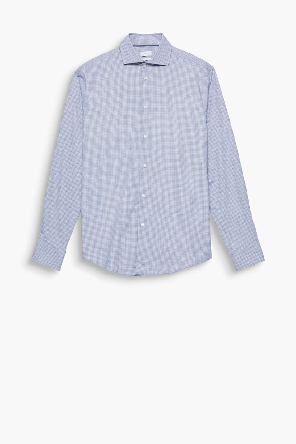The fine, mini check pattern and distinctive shark collar make this shirt a fashionable highlight!