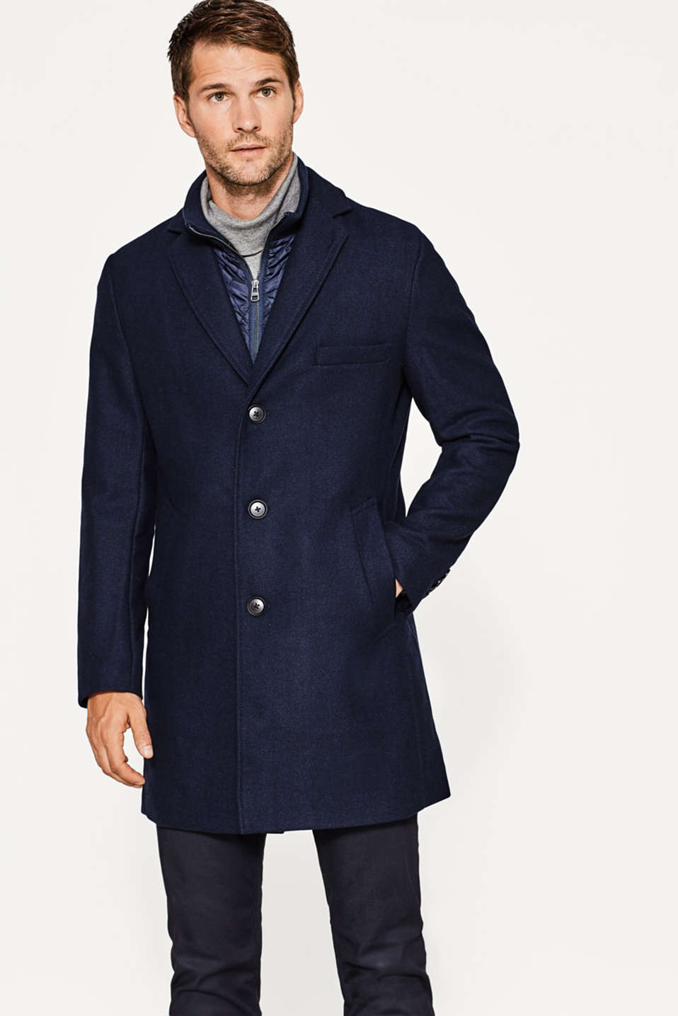 Esprit - Twill coat in a wool blend with quilted insert