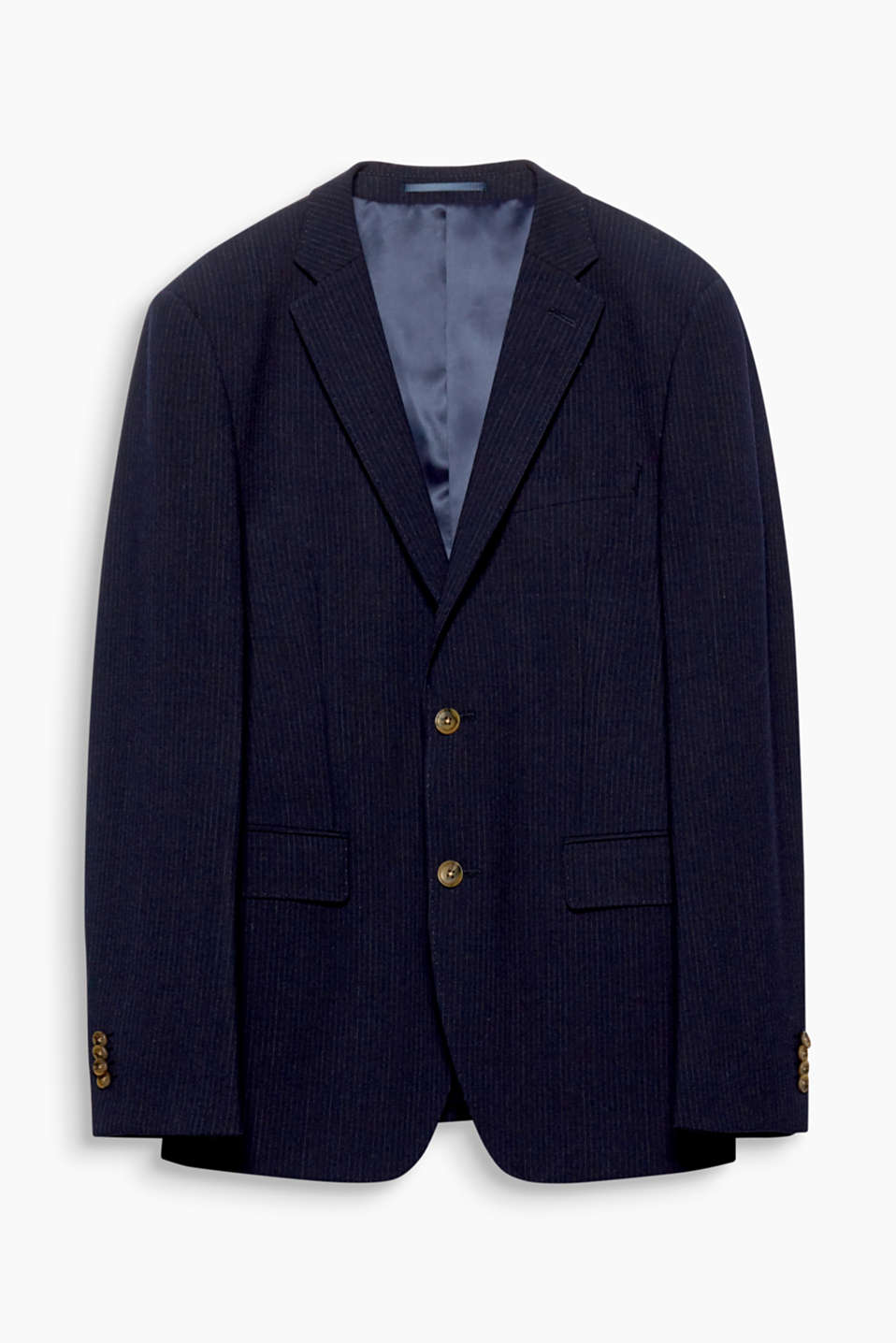 Pinstripes are an elegant perennial fashion trend! This sports jacket is defined by its high-quality wool blend.